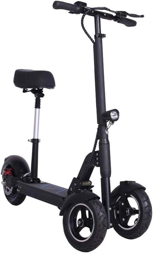Adultos Mini Scooter Eléctrico Plegable Triciclo, Velocidad Máxima De 30 Km/H, De Carga Completa 50KM Range, Batería De Litio De 48V 12.5AH, Ultra Ligera para Scooter
