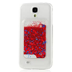 MOLLYCOOCLE Fashion Style PC 3D Flowing Colorful Glitter Bling Powder Star White Skin Transparent Back Skin Phone Back Cover for Samsung Galaxy S4 I9500 (Red)