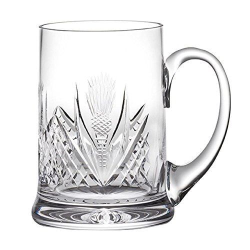 Crystal Thistle - Royal Scot Crystal Beer Ale Pint Tankard 1 Pint in Hand Cut Crystal Scottish Thistle Design