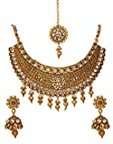 Product review for Bindhani Women's Indian Jewelry Simple Bridal Wedding Party Wear Crafted Brides Gold Plated Kundan Polki Choker Necklace Earrings Tikka Bollywood Style Fashion Jewellery Set for Bridemaids