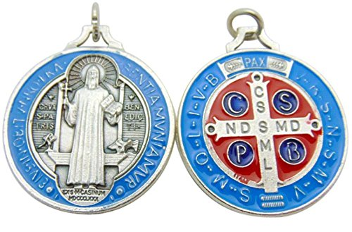 St Benedict Medal Blue & Red Enamel on Metal 1 3/4 Inches Medallion