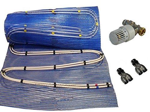 Fußbodenheizung Warmwasser, Doppelrohr, Fläche 2,5 bis 20qm, 3 Regelsysteme zur Auswahl, Fläche:2.5 qm;Regler:RTL Regelventil 1/2