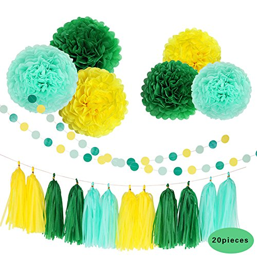 Conjugal Bliss 20PCS Party Supplies Green and Yellow Happy Birthday Banner Tissue Paper Flowers Tissue Tassel Garland For Wedding Baby Shower Party Decorations (Green + (Harry Potter Halloween Party London)