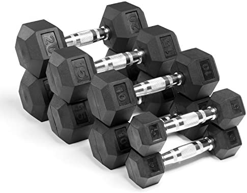 XMark 100 Pound Set Option 1 of Hex Dumbbells, Premium Quality, Rubber Coated with Chrome Contoured Handles