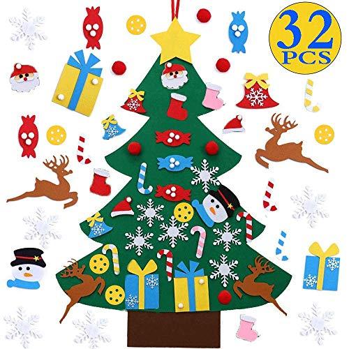 Borogo DIY Felt Christmas Tree with 32Pcs Ornaments, Xmas Gifts for Kids New Year Handmade Christmas Door Wall Hanging Decorations (Handmade Felt Gifts Christmas)
