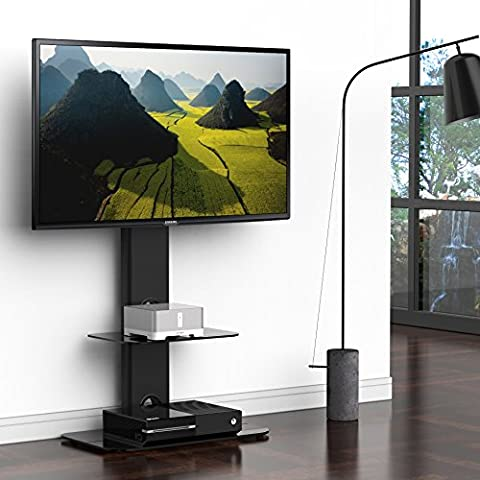 Fitueyes Swivel Mount Stand with Two Shelves for 32 to 50-Inch TV (FTT211501MB)