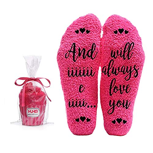 I Will Always Love You Fuzzy Pink Socks - Novelty Cupcake Packaging for Her - Birthday Gifts for Women, Mom, Wife, Sister, Friend, Aunt or Grandma Christmas Stocking Stuffers - 1 Pair