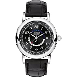 Montblanc Star World Time Black Dial Black Leather Mens Watch 109285