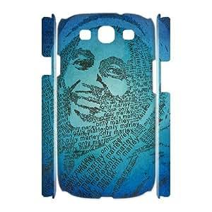 3D Samsung Galaxy S3 Case Bob Marley Art Typography, Bob Marley Bloomingbluerose, {White}