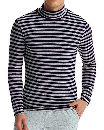 Maglietta T shirt Blu Slim Uomo Lunghe Casual Grigio Top Maniche Cotone Modchok Maglia Alto Collo gYwqgC