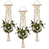 Hanging Planter, EEEkit 3-Pack Macrame Plant Hanger Indoor Outdoor Hanging Planter Basket Jute Cotton Rope Braided Craft, 4 Legs 37 Inch