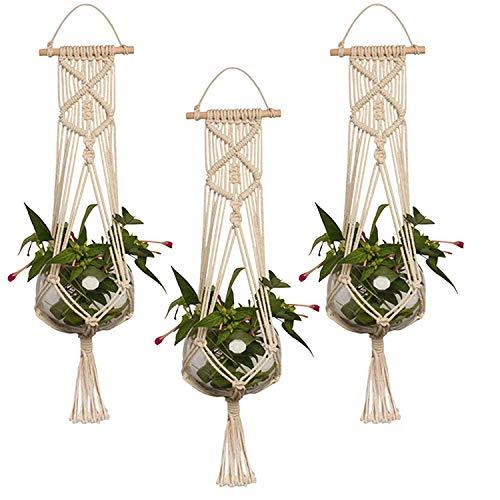 Hanging Planter, EEEkit 3-Pack Macrame Plant Hanger Indoor Outdoor Hanging Planter Basket Jute Cotton Rope Braided Craft, 4 Legs 37 Inch