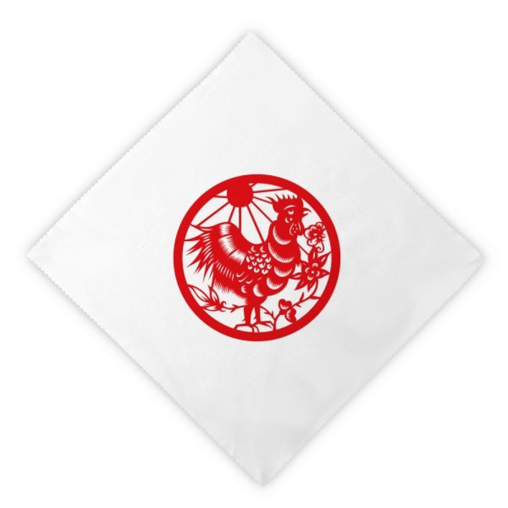 DIYthinker Paper-cut Rooster Animal China Zodiac Art Dinner Napkins Lunch White Reusable Cloth 2pcs