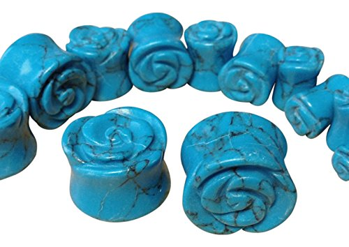 PAIR of Carved Blue Turquoise Stone Rose Flower Double Flare Plugs 2g thru 5/8