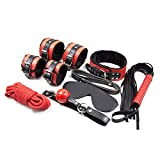 Leather Bondage Toys 7pcs Fur-lined BDSM Restraint Kit With Sex Collar & Leash, Mouth Gag, Handcuffs & Ankle Cuffs, Flogger, Rope and Blindfold