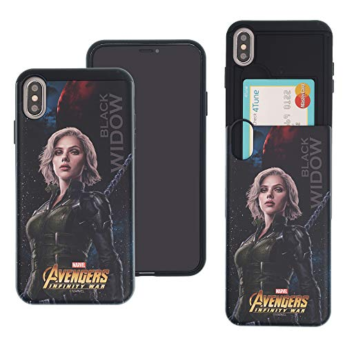 iPhone Xs Max Case Marvel Avengers Infinity War Slim Slider Cover : Card Slot Shock Absorption Dual Layer Holder Bumper for [ iPhone Xs Max ] Case - Black Widow