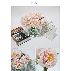 Artificial Flowers Fake Flowers 5 Heads Peony Flowers Short Stem Bouquet for Home Garden Xmas Party Wedding Flower Arrangement Shops Grave Decor 2
