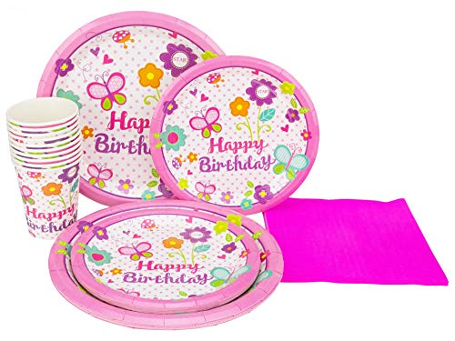Perfect Settings Disposable Tableware - Happy Birthday Plates Balloons Confetti - Dinner Set Bundles of 10 Includes Happy Birthday 9