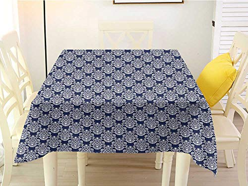 - L'sWOW Square Tablecloth Tassels Navy Blue Abstract Floral Damask with Antique Victorian Design Renaissance Flourish Dark Blue Bayberry Washable 70 x 70 Inch