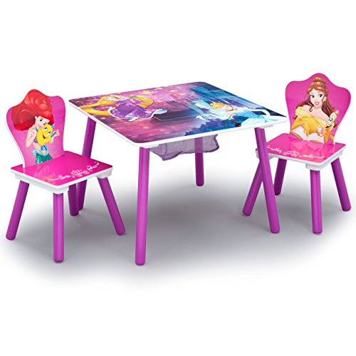 Delta Children Table and Chair Set With Storage, Disney Princess (Desk Princess Art Disney)