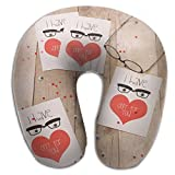 RONG FA Because You,so Valentine's Day Every Day 100% Pure Memory Foam Neck Pillow,Comfortable U Shaped Cushion Neck Pillow With Head And Neck Supports For Airplanes Travel,Car,Driving