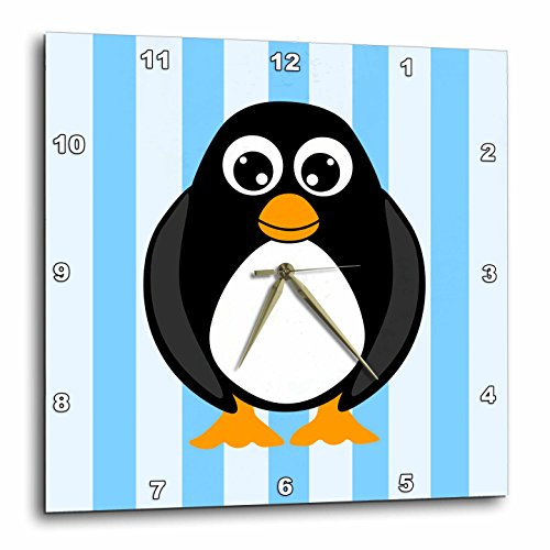 3dRose dpp_6293_3 Cute Penguin with Blue Stripes Wall Clock, 15 by 15-Inch Penguin Wall Clock