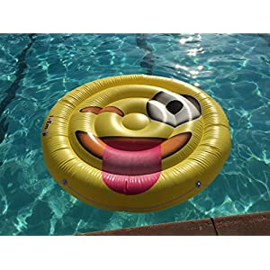 Emoji Swimming Pool Float | Tongue Wink Emoticon | Huge 60 Inch Raft | So Cool For Pool Parties