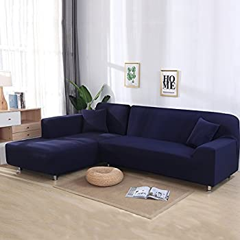 Cjc Universal Sofa Covers For L Shape, 2pcs Polyester Fabric Stretch  Slipcovers + 2pcs Pillow Covers For Sectional Sofa L Shape Couch   Solid  Color Navy ...