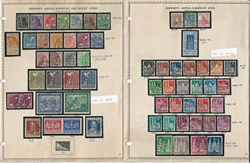 Germany Stamp Collection 1947-48 on 3 Minkus Pages, US & Soviet Zone, -