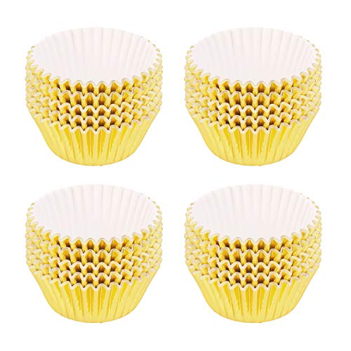 SUBANG 400 Pieces Tulip Cupcake Liner Baking Cups Muffin Tins Treat Cups Foil Metallic Cupcake Liners for Weddings,Birthdays,Baby Showers,Light Gold]()