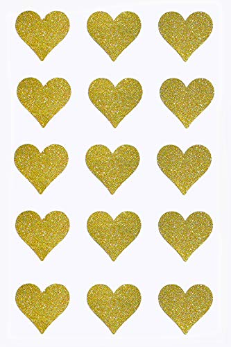 Heart Stickers Gold Labels Glitter Perfect for Favor Bags, Thank You Cards, Invitations, Arts and Crafts 1.5