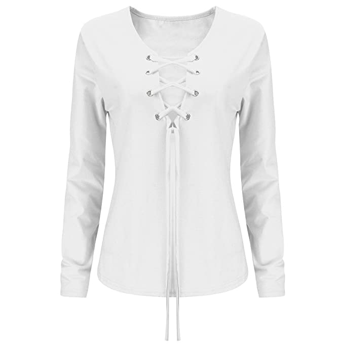 Mujer Camisetas Manga Larga V Cuello Bandage Slim Fit Sencillos Color Solido Basicas Elegantes Fashion Casual