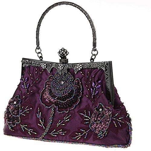 Purple Vintage Handbags Belsen Women's Sequin Beaded Women's Belsen Evening q8tAwgH