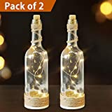 Bright Zeal /Pack of 2/ LED Bottle Lights with Cork and String Lights with Timer (Clear Glass Bottles, Jute Twine Wrapped) - Wine Bottles Decorative Bottles Lighted Wine Bottle Light Home Decorations