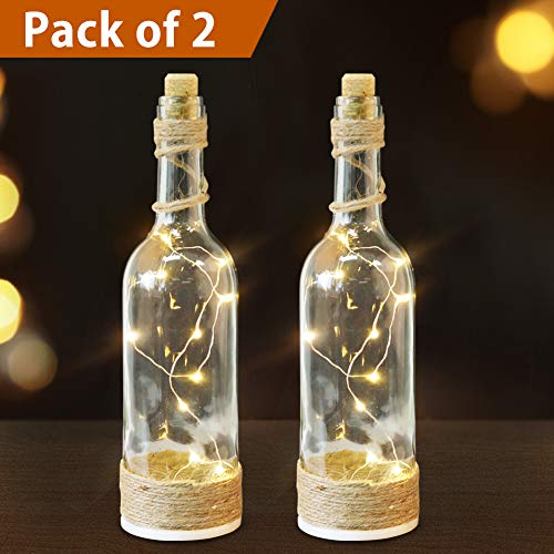 Bright Zeal /Pack of 2/ LED Bottle Lights with Cork and String Lights with Timer (Clear Glass Bottles, Jute Twine Wrapped) - Wine Bottles Decorative Glass Bottles for Kitchen Light ()