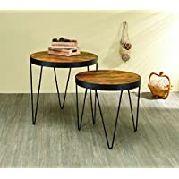 Coaster Home Furnishings Coaster 901944 2Piece Nesting Table Set, Honey Cherry/black