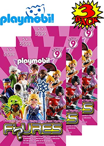 Matty's Toy Stop Playmobil Figures Mystery Blind Bags Series 9 Girls 5599 (Pink) Gift Set Party Bundle - 3 Pack - Playmobil Favors