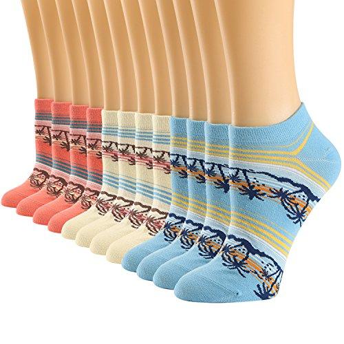 Womens Low Cut Socks Cotton Coconut Tree Pattern Design Non-Slip Comfy Ankle Socks 6 Pack
