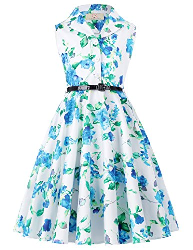 GRACE KARIN Girls Print Sleeveless Swing Dresses with Belt 6yrs CL9000-6 -