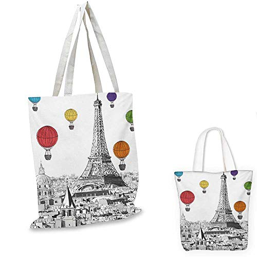 Paris small clear shopping bag Greyscale Eiffel Tower and Notre Dame Building with Rainbow Colored Hot Air Balloons sloth shopping bag Multicolor. 16