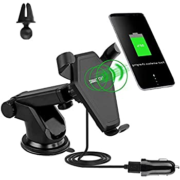 Wireless Car Charger Quick Charger Car Mount with Air Vent Holder for iPhone X iPhone 8 Galaxy S8 and other Qi-Enabled Devices