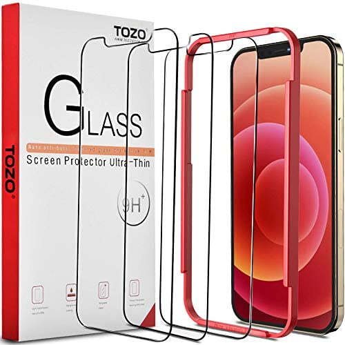 TOZO Compatible for iPhone 12 and Compatible for iPhone 12 Pro Screen Protector 3 Pack Premium Tempered Glass 0.26mm 9H Hardness 2.5D Film Easy set up 6.1 inch