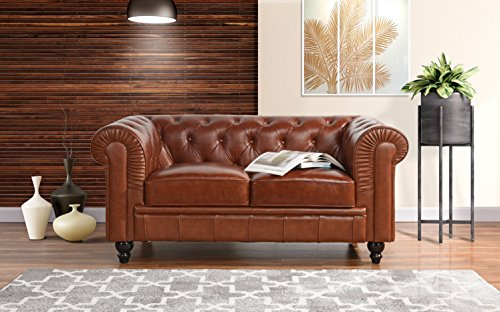 Divano Roma Classic Scroll Arm Real Leather Match Chesterfield Love Seat (Light Brown) (Chesterfield Sofa Brown Dark)