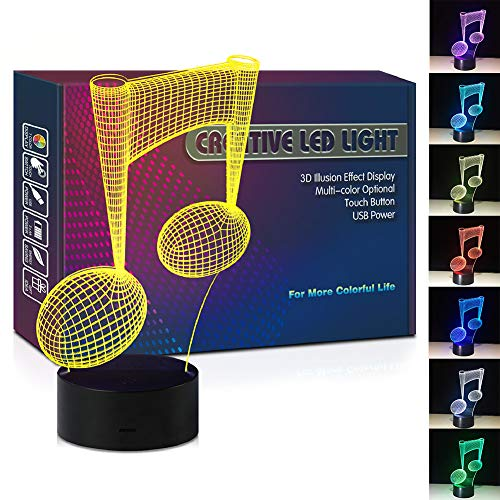 Price comparison product image Music Note Visual LED 3D Illusion Lamp USB Multi Color Night Light Christmas Present Birthday Gift for Teenager Artist Singer Singing Boy Girl Kids Children Bedroom Room Decor (Note)