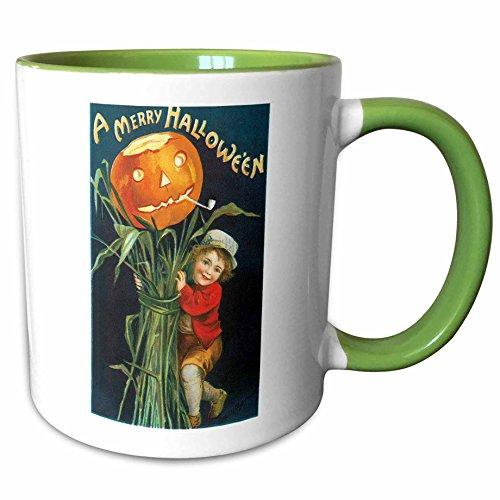3dRose BLN Vintage Halloween - Vintage A Merry Halloween with a Young Boy with Corn Stalks and a Pumpkin - 15oz Two-Tone Green Mug (mug_126102_12) -