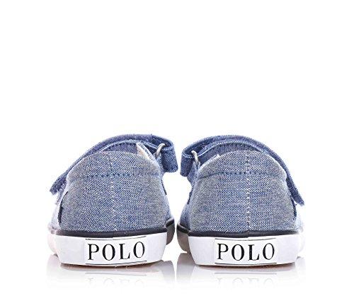 POLO RALPH LAUREN - Ballerine jean ballet flat avec velcro, logo latéral et semelle en caoutchouc, fille, filles, bébé, enfant