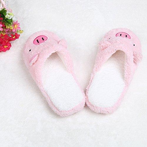 LANDFOX Zapatillas suaves para pisos de cerdo rosado