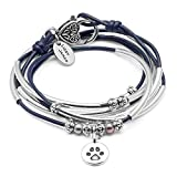 Lizzy James Charmer Gloss Navy Leather Wrap Bracelet Necklace w Paw Charm in Silver with Freshwater Pearls (SMALL)