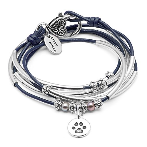 Lizzy James Charmer Gloss Navy Leather Wrap Bracelet Necklace w Paw Charm in Silver w Freshwater Pearls