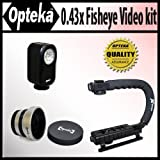 Opteka Extreme Action Video Photographer's Kit (Includes the Opteka 0.43x Super Fisheye Lens, X-GRIP Camcorder Handle, & 3 Watt Video Light) for JVC Everio GR-AXM17, AXM18, D275, D32, D33, D650, D71, D72, D73, D74, D850, D870, D93, D94, DF430, DF450, DF470, DF550, DX300, DX75, DX95, DZ7, SXM35, SXM37, SXM38, GZ-HD300, HD320, HM200, MG330, MG335, MG360, MG365, MG467, MG630, MG650, MG670, MG680, MS120 and GZ-MS130 Digital Camcorder